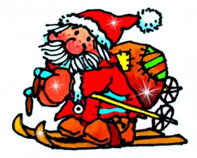 Mini Fensterbild Weihnachtsmann mit Ski