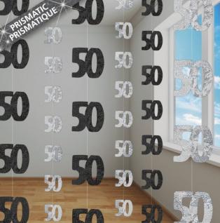 50. Geburtstag Glitzer Girlanden Schwarz
