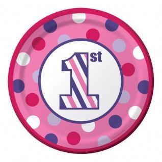 8 kleine Teller 1. Geburtstag Punkte und Streifen Pink