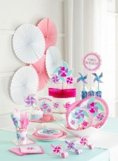 48 Teile Erster Geburtstag Windrad Pink Party Deko Set 16 Personen - Vorschau 5