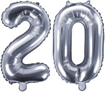 Folienballons Zahl 20 Silber Metallic 35 cm