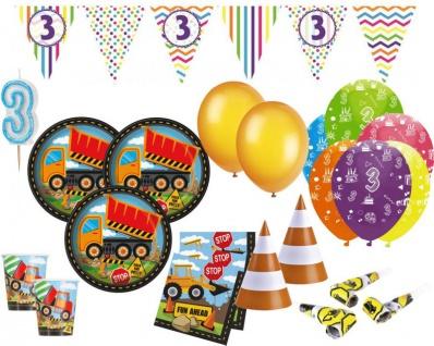 XXL 75 Teile Party Deko Set Baustelle zum 3. Geburtstag für 8 Kinder