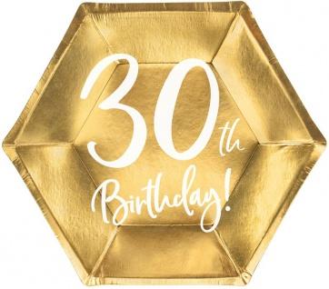 6 Papp Teller zum 30. Geburtstag Gold Metallic