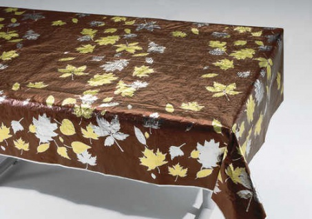 Tischdecke Braun Gold Silber Metallic mit Herbst Laub bedruckt