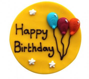 Zucker Plakette Happy Birthday 7, 5 cm