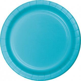 24 große Papp Teller Bermuda Blau 26 cm Durchmesser