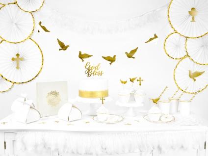 6 goldene Muffin Stecker Kreuz Taube Flügel DIY - Vorschau 3