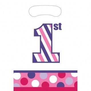 8 Party Tüten 1. Geburtstag Punkte und Streifen Pink