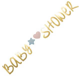 Baby Shower Buchstaben Girlande in Gold Metallic