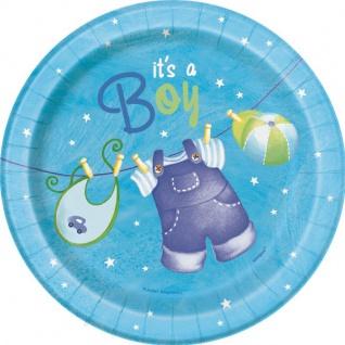 8 kleine Teller Baby Wäscheleine blau