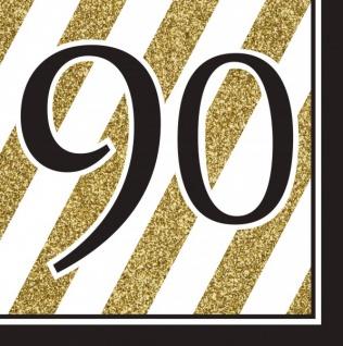 16 Servietten 90. Geburtstag Black and Gold