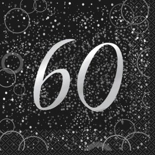 60. Geburtstag 16 Servietten in Schwarz Silber foliert