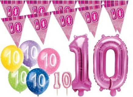 10. Geburtstag Pink Folienballon + Girlande + Luftballons + Kerze Deko Set - Zehn