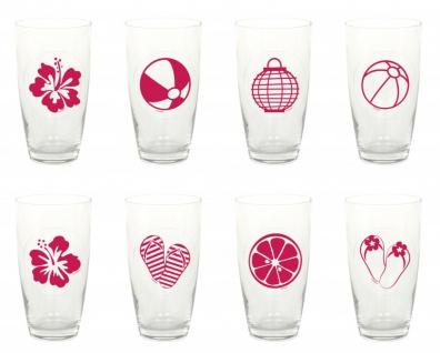 16 Gläser Marker Sommer Motive