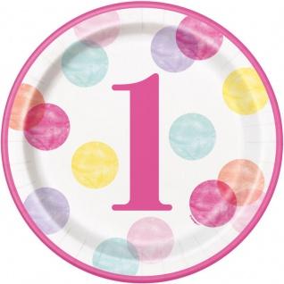 32 Teile Erster Geburtstag Rosa Punkte Party Deko Set 8 Personen - Vorschau 2