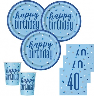 48 Teile 40. Geburtstag Blue Dots Party Set 16 Personen