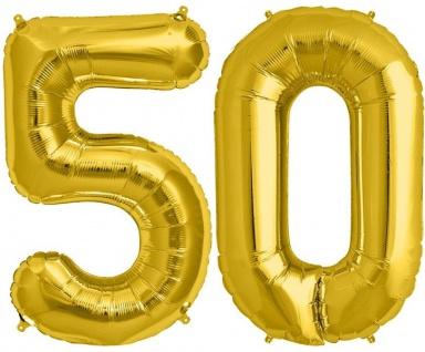 Folien Ballon Zahl 50 in Gold - XXL Riesenzahl 86 cm zum 50. Geburtstag in Gold - Jumbo