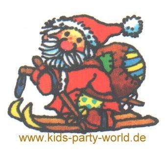 Weihnachtsmann auf Ski Mini Tattoo