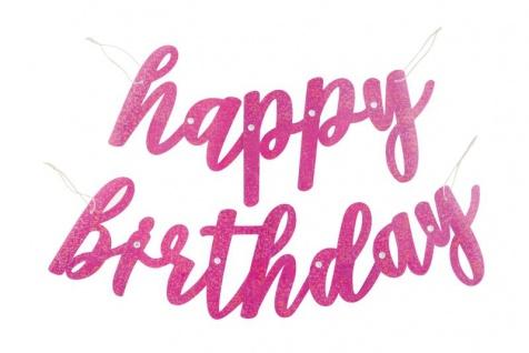 Geburtstags Buchstaben Girlande Pink Dots Glitzer Happy Birthday