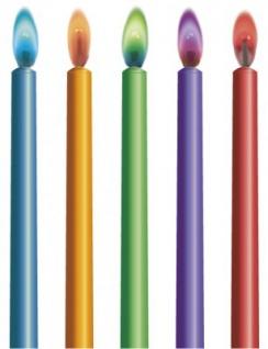 10 bunte Flammen Zauber Kerzen
