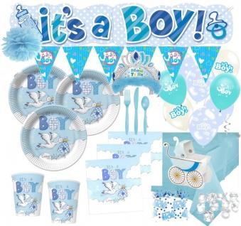 XXL 134 Teile Deluxe Baby Shower Deko Set Blauer Storch für 16 Personen