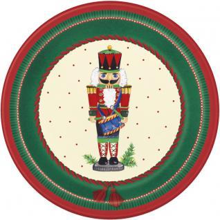 8 kleine weihnachtliche Papp Teller Nussknacker