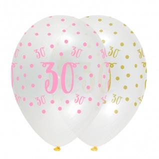 6 Luftballons zum 30. Geburtstag durchsichtig mit Rosa und Gold bedruckt