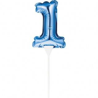 Kuchen oder Deko Stecker Zahl 1 Blau selbstaufblasend