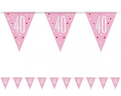 Wimpel Girlande Pink Dots Glitzer zum 40. Geburtstag