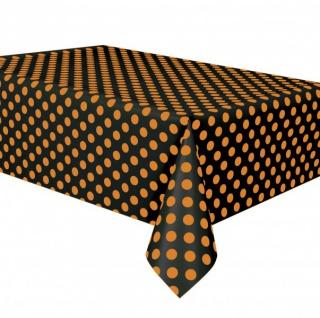Pünktchen Plastik Tischdecke Schwarz Orange