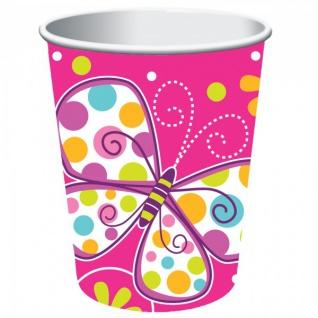 32 Teile Schmetterling in Pink Geburtstags Deko Set für 8 Personen - Vorschau 3
