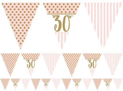 30. Geburtstag Pink Chic Wimpel Girlande 3, 7m