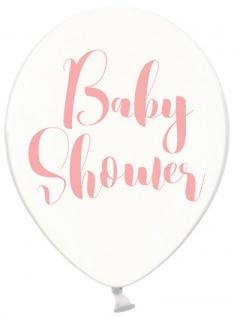 6 Baby Party Luftballons durchsichtig mit Baby Shower in Rosa bedruckt