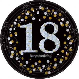 8 Teller Glitzerndes Gold und Schwarz 18. Geburtstag