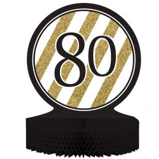 Tischaufsteller 80. Geburtstag Black and Gold
