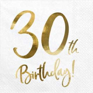 20 Servietten zum 30. Geburtstag Weiß mit Gold Metallic