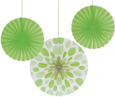 3 Papier Dekofächer Limonen Grün