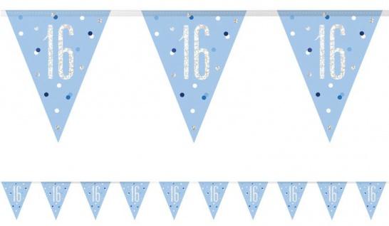 Wimpel Girlande Blue Dots Glitzer zum 16. Geburtstag
