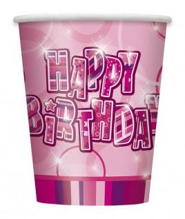 48 Teile Happy Birthday Geburtstag Party Set Pink 16 Personen - Vorschau 3