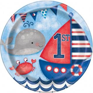 8 Teller 1. Geburtstag Maritim am Meer