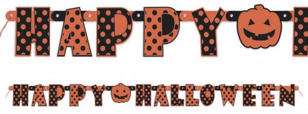Halloween Pünktchen Girlande Schwarz Orange