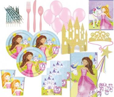 XXL 107 Teile Glitzer Märchen Prinzessin Party Deko Set für 8 Kinder