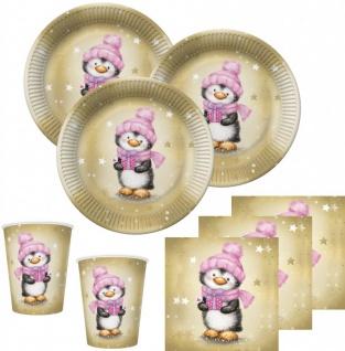 48 Teile Pinguin Mädchen in Rosa und Gold Deko Set für 16 Personen