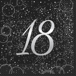 32 Teile edles Party Deko Set zum 18. Geburtstag in Schwarz Silber foliert für 8 Personen - Vorschau 2