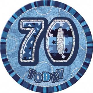 XXL Glitzer Button 70. Geburtstag Blau