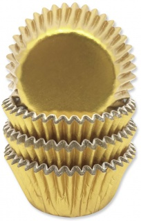 60 Mini Muffinförmchen in Gold Metallic