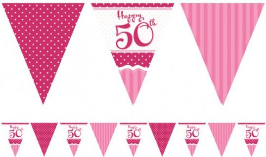 Papier Wimpel Girlande Perfectly Pink zum 50. Geburtstag