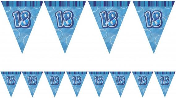 18. Geburtstag Wimpel Girlande Blau
