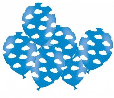 6 Luftballons Blau mit Wolken
