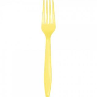 24 Premium Plastik Gabeln Pastell Gelb